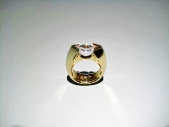 18K Gold Band with Marquee C.Z. Artist: Eddie Sakamoto Catalog: 248-79-6 #18821 Price: $3,975.00 REDUCED: $1,950.00