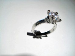 Platinum Ring with .40c Diamond and C.Z. Artist: Varna Catalog: 602-63-6
