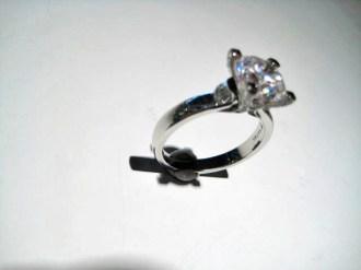 Platinum Ring with .40c Diamond and C.Z. Artist: Varna Catalog: 602-63-6