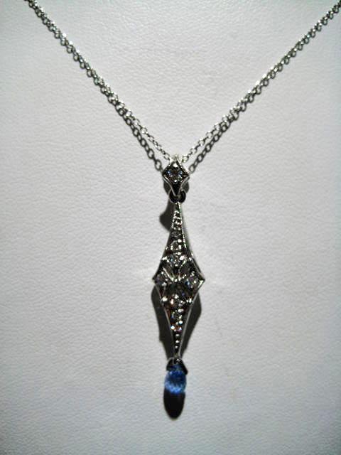 Platinum Necklace with .20c Diamond and Sapphire Artist: Varna Catalog: 105-5-9