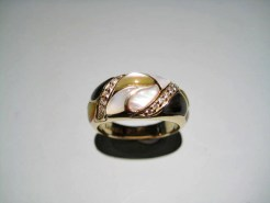 14K Gold Ring with Multi-Color Mother of Pearl and .10K Diamond Artist: Kabana Stavros Catalog: 896-98-3