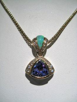 14K Gold Pendant with Opal, 1.64c Tanzanite, and .31c Diamond Artist: Kabana Stavros Catalog: 895-94-9