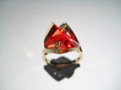 14K Gold Ring with Cultured Orange Sapphire Artist: Strellman Catalog: 398-32-5