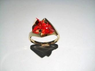 14K Gold Ring with Cultured Orange Sapphire Artist: Strellman Catalog: 398-31-8
