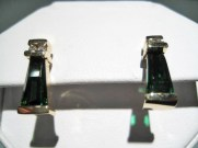 14K Gold Earrings with 2.5c Green Tourmaline and .08c Diamond Artist: Frank Catalog: 800-23-3