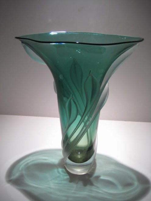 Teal Green Aplique Vase Artist: William Glasner Catalog: 584-04-11