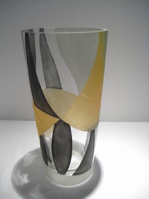 Gold and Grey Etched Vase Artist: Odom Catalog: 616-61-3
