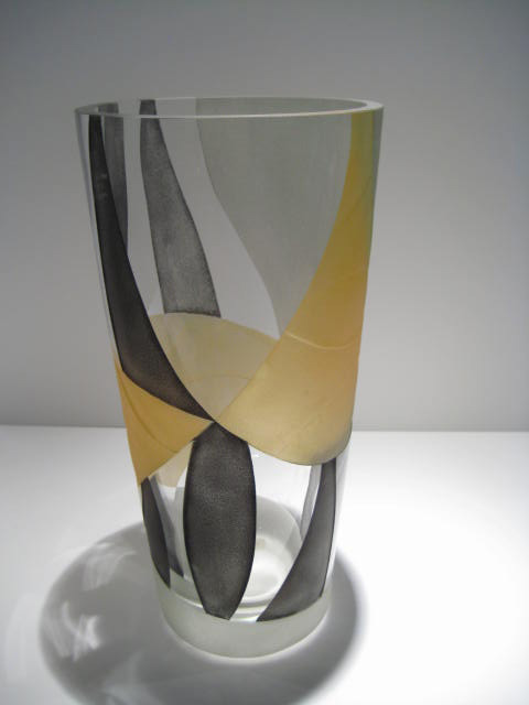 Gold and Grey Etched Vase Artist: Odom Catalog: 616-61-3