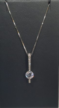 18K White Gold Pendant with .11c Diamond and CZ Artist: Jean Francois Albert #800.63.1