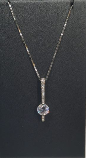 18K White Gold Pendant with .11c Diamond and CZ Artist: Jean Francois Albert #19077 Price: $2,500.00 REDUCED: $1,800.00
