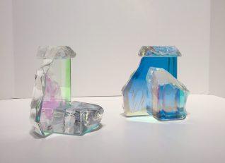 "Dichroic Glass Candle Holders Dichroic Glass Artist: Steve Maslach 6.5"" x 5"" 3"" #2066"