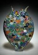 """Multi Colored Foglio Artist: David Patchen 23"""" x 14"""" x 3.5"""" Hand Blown Glass"""
