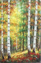 Autumn Birch Grove Oil on Canvas Rodrigo 69x46 C#21473