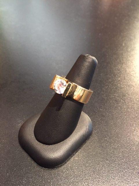 14k Yellow Gold Ring with CZ Artist: Eddie Sakamoto
