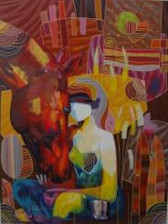 Feeding Lola, Original Acrylic on Canvas, Artist: Tadeo 36x48