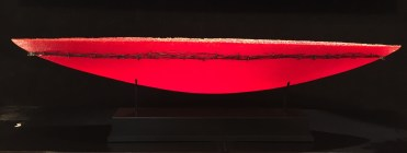 Sunset Red Boat, Pate de Verre Glass Artist: P. Roberts 9.5x34.5 or 11.75x47