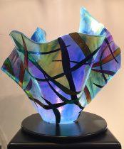 Seascape IV, Dichroic Slumped Glass, Artist: Gina Poppe, Size: 14.5 x 18.5 x 18 C21368