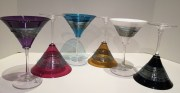 Silver Spun Martini Glass, Hand-Blown Glass, Artist: Martin Mihn Available in: Amethyst, Ruby, Aqua, Amber, White, Black, Emerald