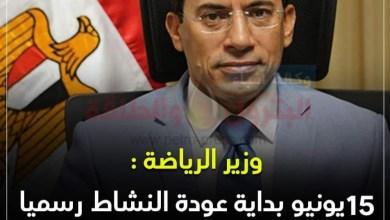 Photo of عاجل..رسميا..وزير الرياضة يعلن 15 يونيو بداية عودة النشاط في الأندية ومراكز الشباب