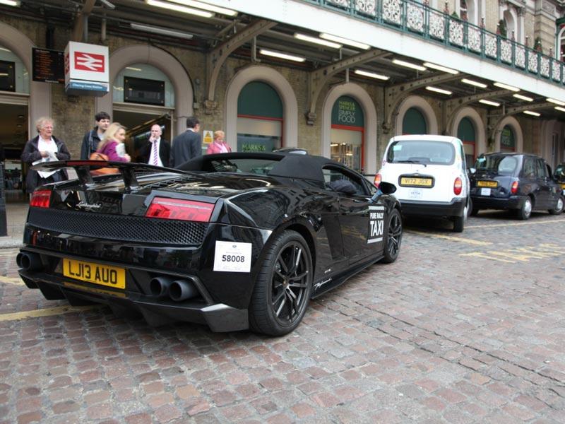 Rear of Lamborghini Gallardo taxi in London