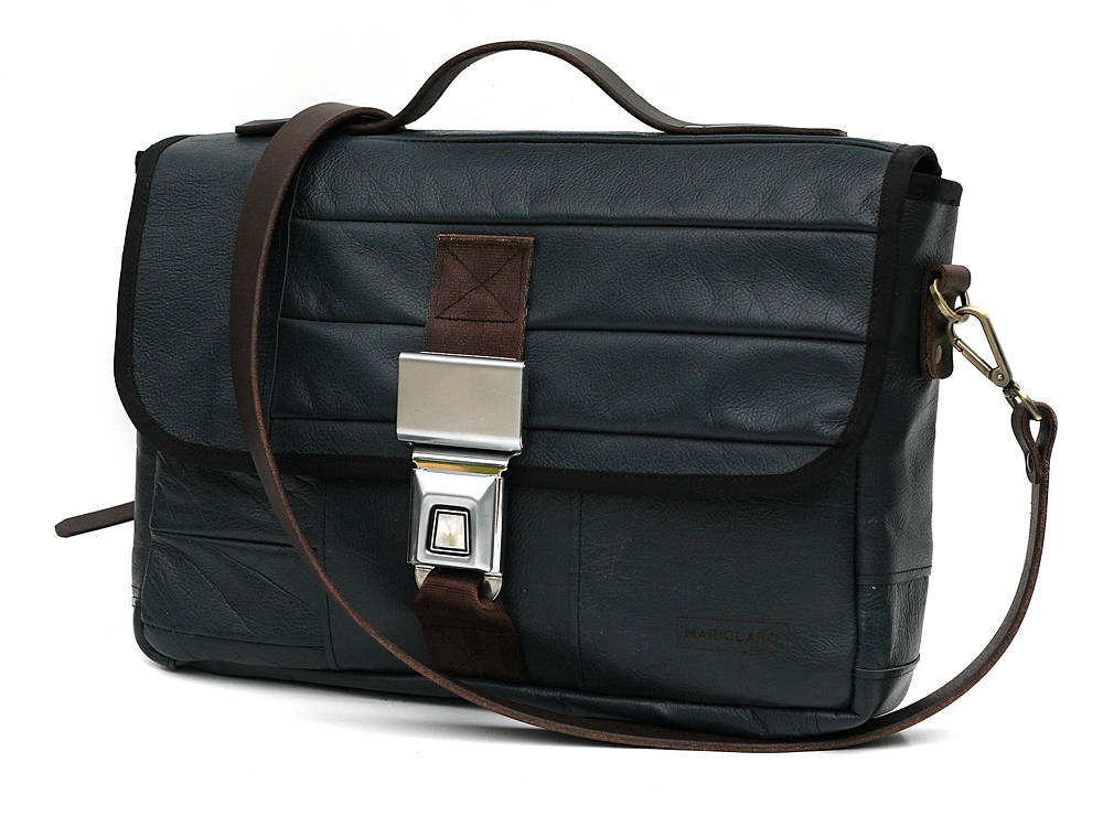 Mariclaro Messenger bag made from the leather interior of a 1988 Jaguar XJ6