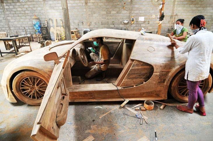 Real size Wooden Bugatti Veyron