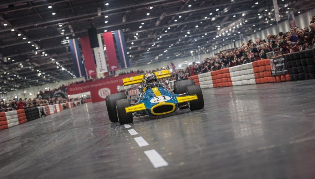 F1 cars on The Grand Avenue at The London Classic Car Show 2018