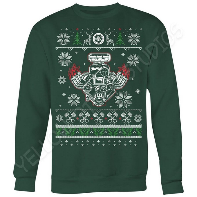 V8 Engine Muscle Car Christmas Jumper