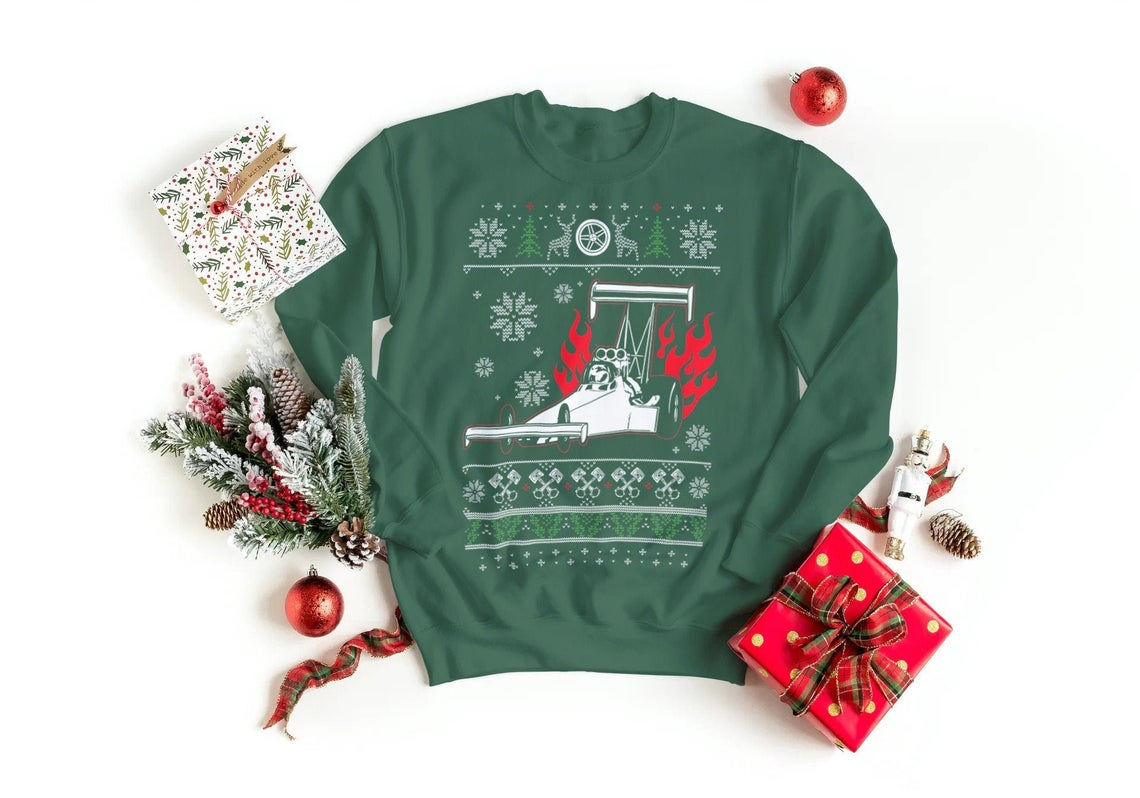 Drag Racing Car Christmas Jumper