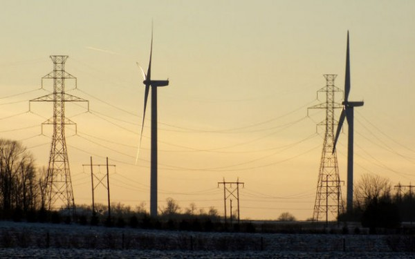 wind turbines and lines