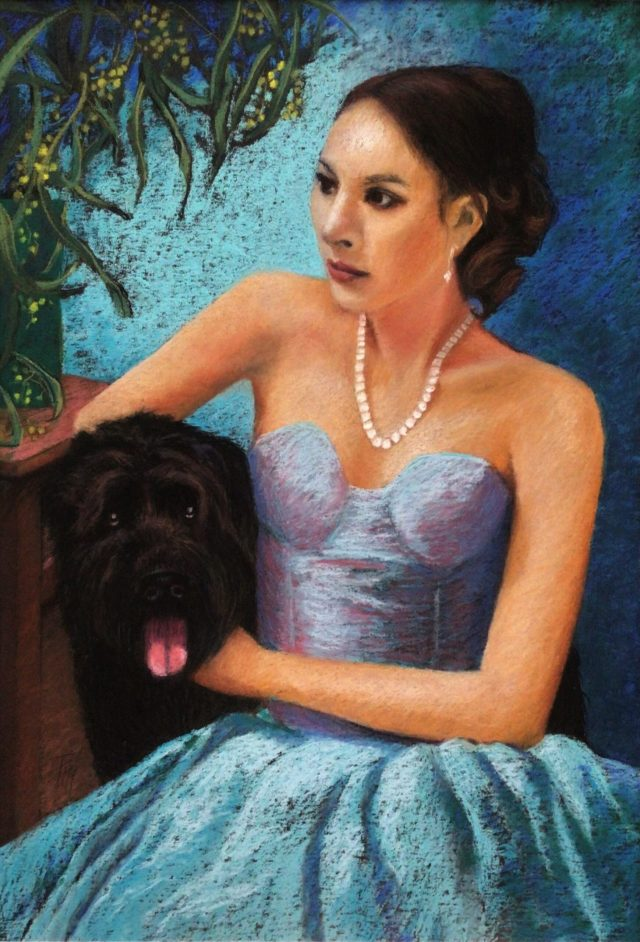 Pastel portrait of woman wearing pearl necklace and embracing a dog