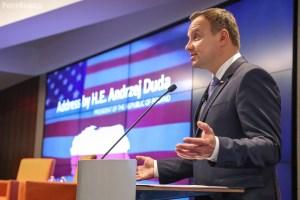 Wystąpienie Prezydenta RP na forum przedstawicieli amerykańskiego biznesu, organizowane przez U.S. Chamber of Commerce. (Fot. Andrzej Hrechorowicz / KPRP, prezydent.pl)