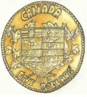 Dessin chaize thomas pièces d'or du Canada, 5 dollars