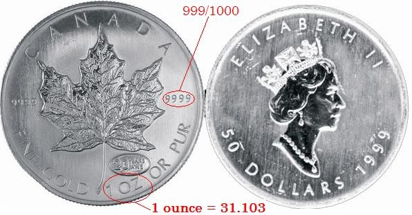 Photo du Maple Leaf 50 dollars