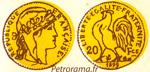 gravure 20 francs or coq