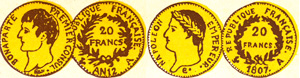 gravure 20 francs or Bonaparte premier consul et Napoléon tête laurée