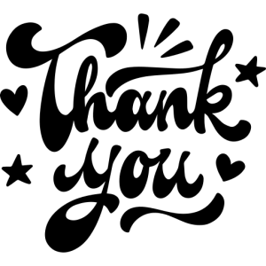 A decorative image saying Thank you in a nice calligraphic font.