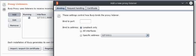 Add Burp Suite Listener Proxy