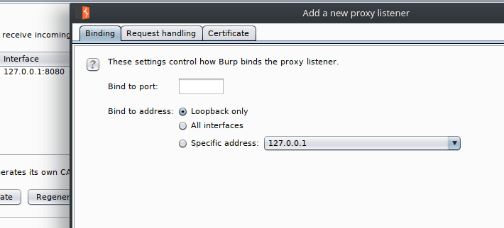 Add Burp Suite Listener Proxy
