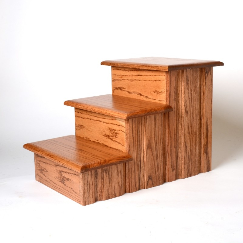 Oak Wood Solid Tread Pet Stairs   Solid Wood Steps For Stairs   Staircase   Iron Rod   Oak Veneer   Rounded   Stained