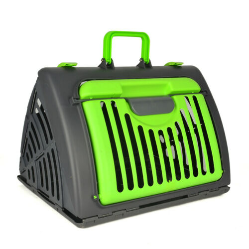 """Pet Cat Kitten Puppy Travel Carrier Bag Collapsible Plastic Crate 18""""x 14"""