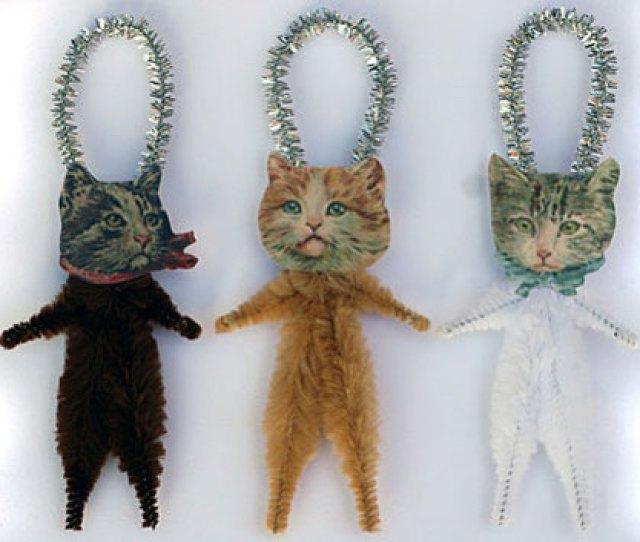 Old World Primitives Hand Made Cat Ornaments Old World Primitives