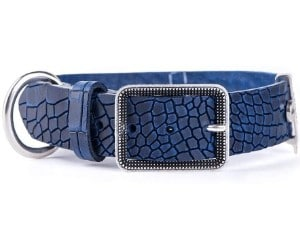 My Family Tucson Genuine Textured Italian Leather Dog Collar, Blue