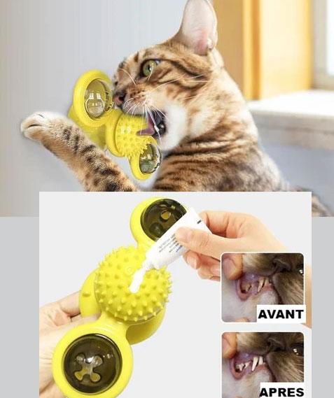 jouet brosse à dents pour chat bleu