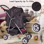 4-Wheels-Pet-Stroller-Cat-Dog-Cage-Stroller-Travel-Folding-Carrier-with-Cup-Holders-and-Removable-Liner-for-Small-Medium-Dog-Cat-0-0