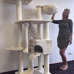 Cat-Tree-for-Large-Cats–Cat-Mansion-Beige–71-inch-108-lbs-5-inch–poles–Total-size-71x29x23-inch–Cat-Scratcher-scratching-post-activity-center-Cat-Trees-for-large-cats-Quality-product-from-C-0