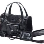 Faux-Crocodile-Travel-Bag-wMatching-Coin-Purse-Tote-Carrier-Black-by-mpet-0