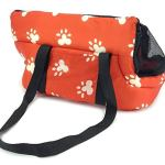Soft-Pet-Carrier-BAG-Comfort-Tote-Plush-Red-w-White-Paw-Prints-Hobo-Bag-0-0