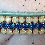 White-Opals-Capri-Blue-Crystal-Rhinestone-Fancy-Velvet-Dog-Cat-Pet-Collar-0