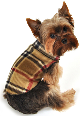 Fleece Plaid Dog Coat Pullover for Small dogs Teacup